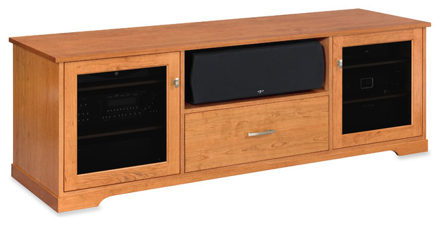 Standout Horizon EX Solid Wood Media Console, Sunrise on Cherry, Tinted Doors - Transitional ...