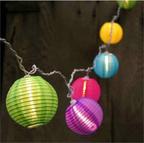 Colorful String Lights : Bright and Colorful Round Chinese Lantern Patio Lights, White Wire - Contemporary - Outdoor Rope ...
