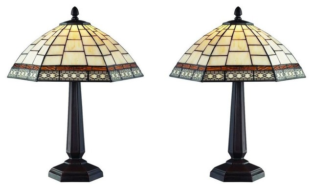 Serena D'italia Lamps 18 in. Tiffany Style White Antique Table Lamp Set contemporary-lamp-sets