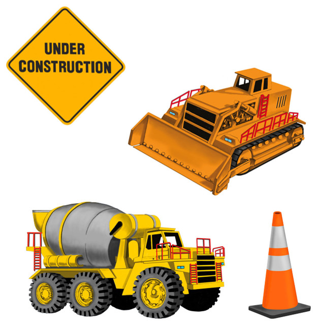 Under Construction 23pc Self-Stick Wall Accent Stickers Set contemporary-wall-decals