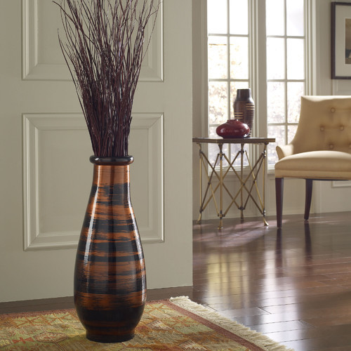 copperworks round floor vase modern home decor