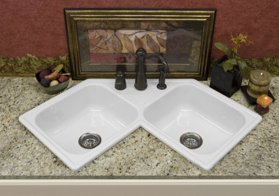 Double Corner Sink : Double Bowl Corner Style Kitchen Sink - Traditional - Kitchen Sinks ...