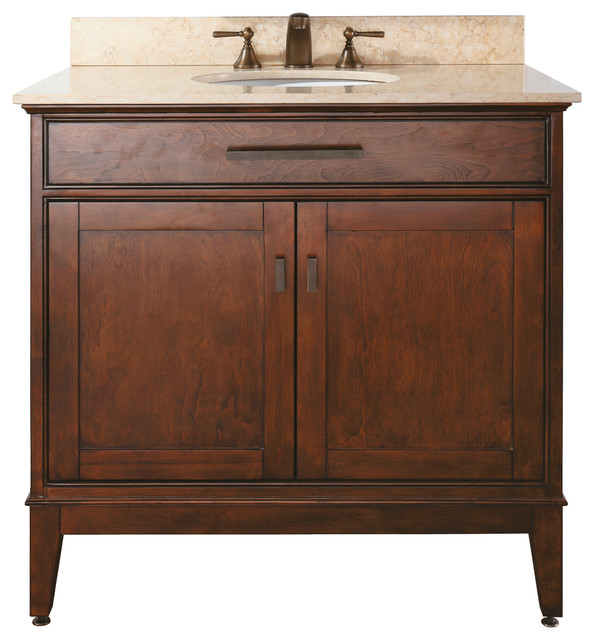 Madison 36 Vanity Combo Tobacco Black Granite Top Contemporary Bathroom Vanities And Sink