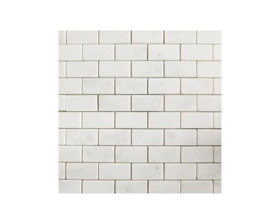 "1""x2"" Olympian White Polished Natural Stone Mosaic -"