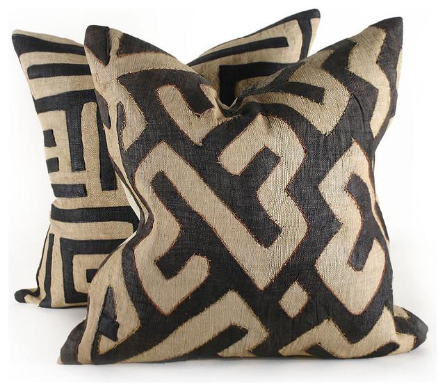 Eclectic Pillows : Black Kuba Cloth Pillow - Contemporary - Pillows - by Pfeifer Studio