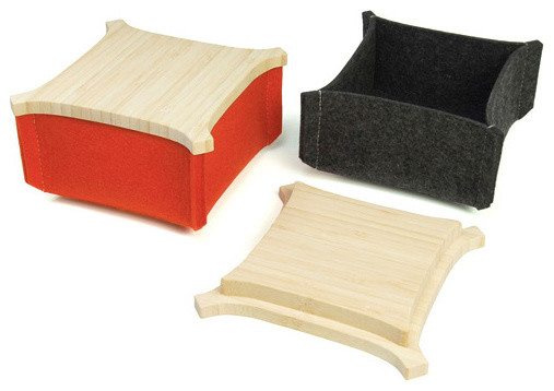 'Friend Felt Box With Bamboo Top contemporary-decorative-boxes