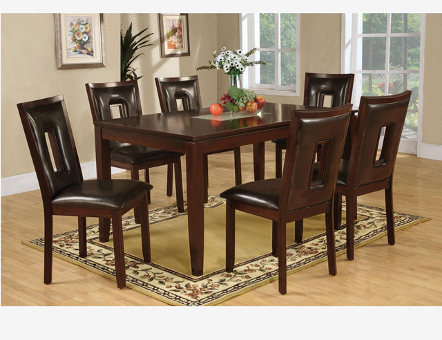 7 Pc Casual Espresso Wood Dining Room Set Table Chairs