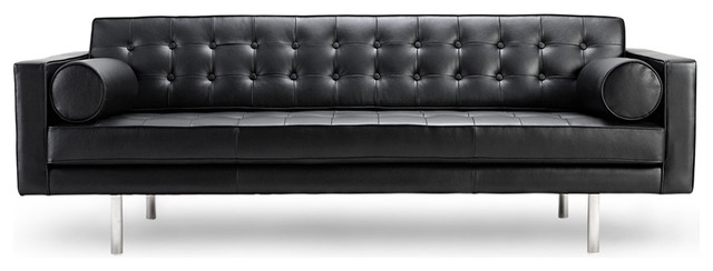 Chelsea Black Leather 3-Seat Couch modern-sofas