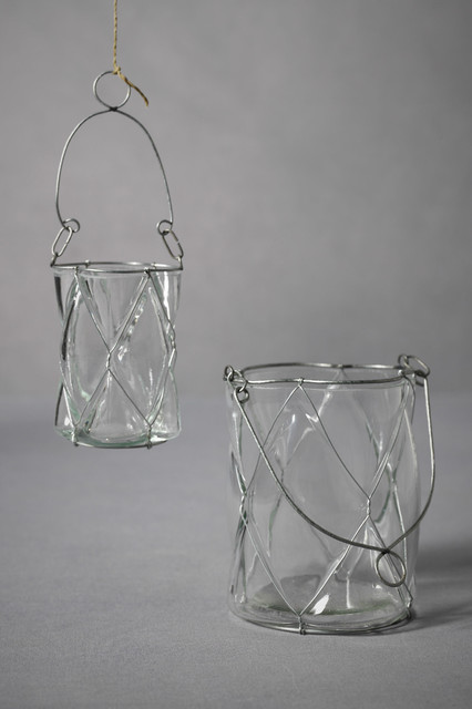 Dimpled Pane Candle Baskets traditional-candleholders