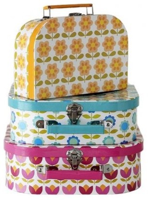 Retro Flower Suitcases modern-storage-bins-and-boxes