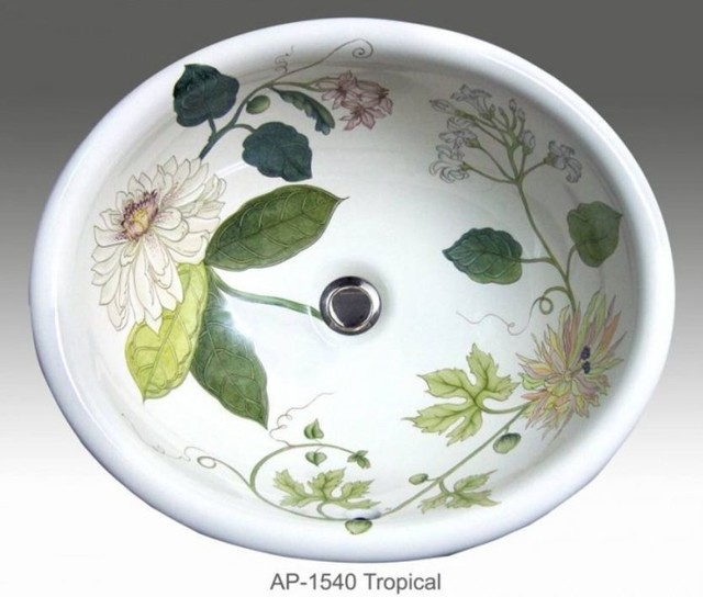 Tropical hand painted design in self rimming sink. - Tropical - Bathroom Sinks - other metro ...