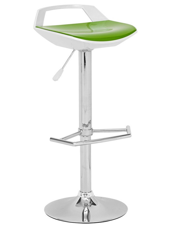 "Zuo - Zuo Excelsior Green and White Barstool - Chrome finish steel frame barstool. Green and white ABS seat construction. Adjustable height. Swivel base. A chic addition to your home from Zuo Modern. 17 1/2"" wide. 17 1/2"" deep. 37 1/2"" high. Some assembly required.       Chrome finish steel frame barstool.  Green and white ABS seat construction.  Adjustable height.  Swivel base.  A chic addition to your home from Zuo Modern.  17 1/2"" wide.  17 1/2"" deep.  37 1/2"" high.  Some assembly required."