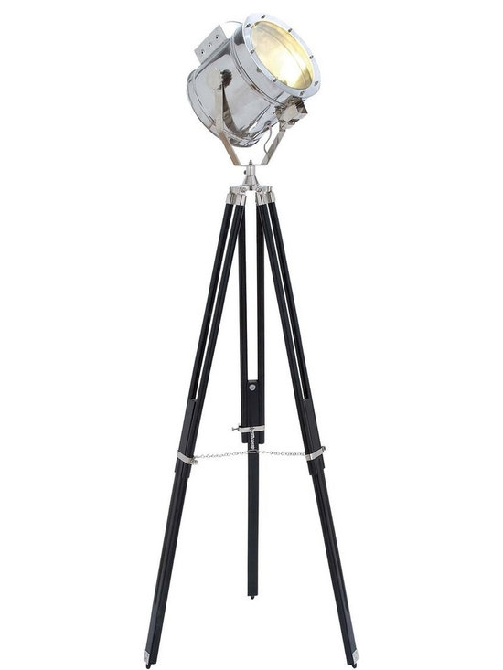 Benzara - Spot Light Three Legged Tripod in Metallic Finish - This metal wood spot light is spectacular design and is indeed a beautiful addition to your interiors. The wooden three legged tripod with a large search light comes with electric fittings. Flaunting a metallic finish, the tripod is equipped with a chain to make it space efficient. The tripod is made out of polished wood that ensures long lasting performance. You can create a contrast of colors and themes with this spotlight. You can place this spot light in your living area, dining space or in the office to enjoy a subtle and subdued ambience. The silver sheen makes the spot light look stunning.
