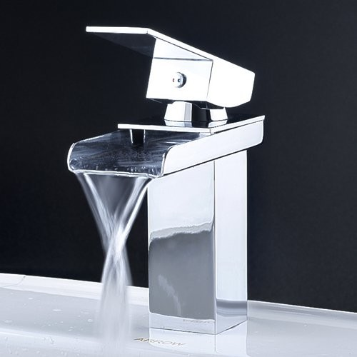 Modern Kitchen Sink Faucets: Contemporary Waterfall Bathroom Faucet In Chrome Finish