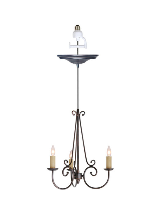 Screw-In Bronze Three-Light Chandelier Pendant - Replace A Plain Recessed Light With Our Classic Screw-In Chandelier