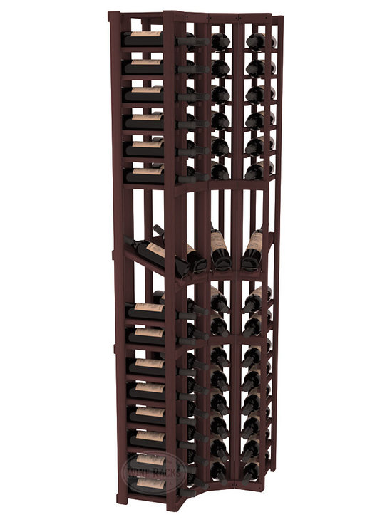 Wine Racks America® - 4 Column Display Cellar Corner in Redwood, Walnut Stain - Unique corner wine racks obtain maximal storage capacity with style. Display 4 coveted vintages without sacrificing proper wine storage. We back the quality of every rack with our lifetime warranty. Designed with emphasis on functionality, these corner racks fit seamlessly into our modular line of wine racks.
