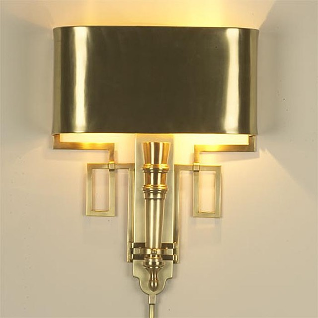 Global Views Torch Sconce with Shade-Antique Brass traditional-wall-lighting
