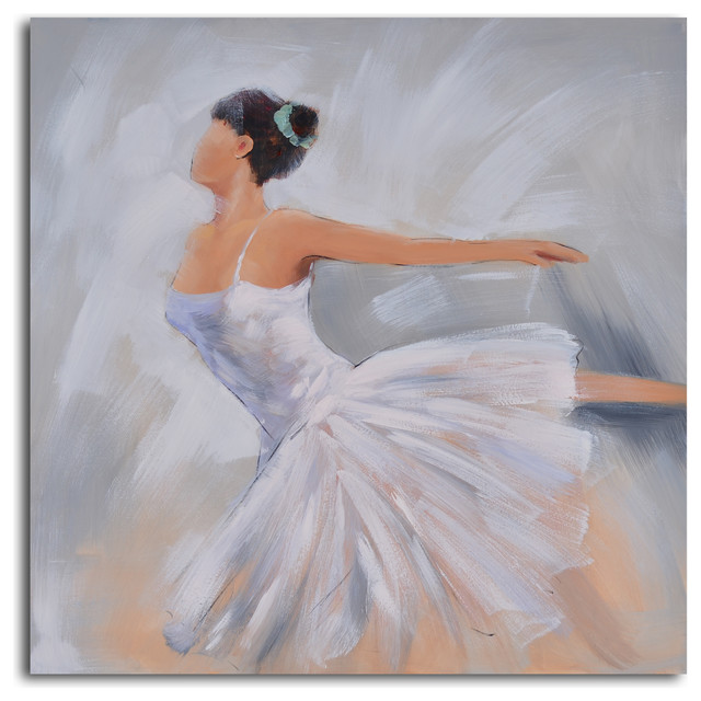Ballerina in white Hand Painted Canvas Art traditional-prints-and-posters