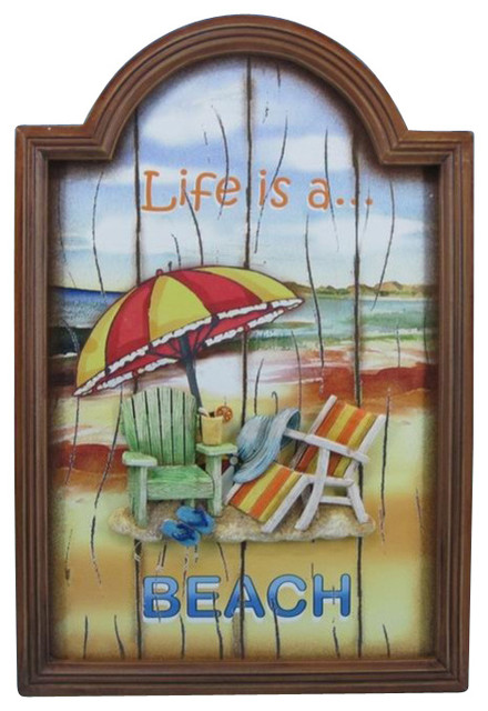 """Wooden Life is a Beach Wall Plaque 18"""" Gone To The Beach Sign Beach Lifestyle tropical-novelty-signs"""