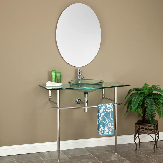40 Larwill Glass Console Vanity With Semi Recessed Sink And Mirror Tr