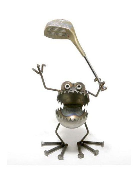 Golfer Gnome Statue - Fun, funky, and always very unique, Fred Conlon's award-winning metal art has appeared in art festivals across the nation. Handmade mostly from recycled material, factory seconds and stuff found in the scrap yard, each piece is unique and one of a kind.