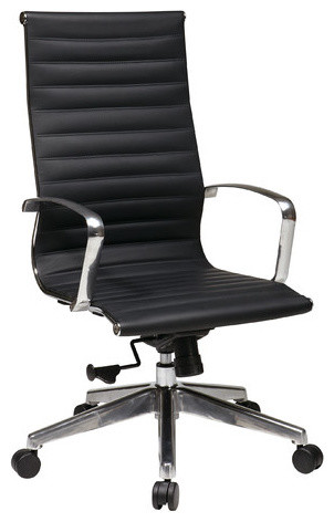 Hi-Back Eco Leather Deluxe Office Chair with Polished Aluminum Arms and Base modern-home-office-accessories