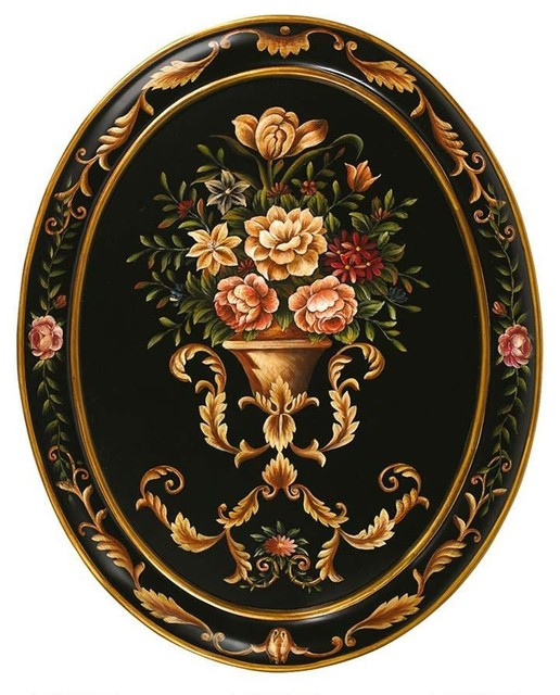 28 hand painted italian flower oval wall painting traditional wall decor by xoticbrands - Oval wall decor ...