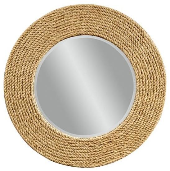 Palimar Sisal Rope Frame Wall Mirror beach-style-mirrors