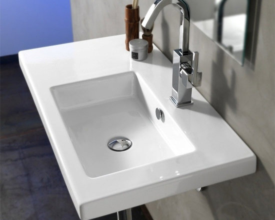 "Tecla - Stylish Rectangular Built-In, Vessel, or Wall Mounted White Ceramic Sink - Stylish built-in vanity, above counter vessel, or wall mounted white ceramic sink made in Italy by Tecla. Rectangular sink includes overflow and has left-side counter space. Option for a single faucet hole (as shown), no holes, or 3 holes. Sink dimensions: 31.50"" (width), 17.72"" (depth)"