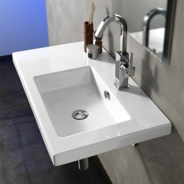 Stylish Rectangular Built-In, Vessel, or Wall Mounted White Ceramic Sink contemporary-bathroom-sinks