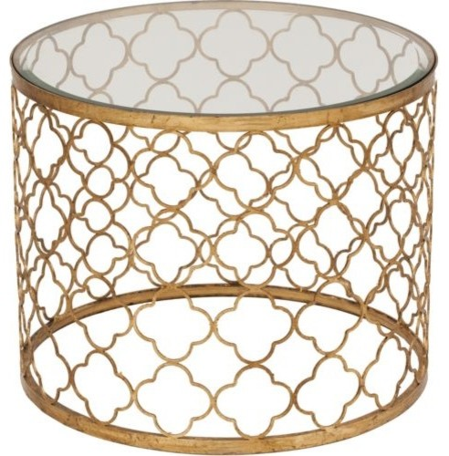 Gold Leaf Beveled Glass Top Table  side tables and accent tables