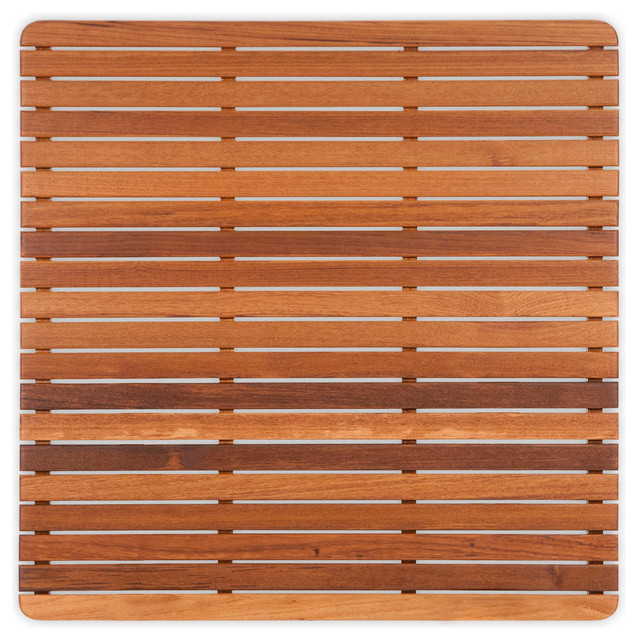 """Teak Mat with Rounded Corners (30"""" x 30"""") Finished modern-bath-mats"""
