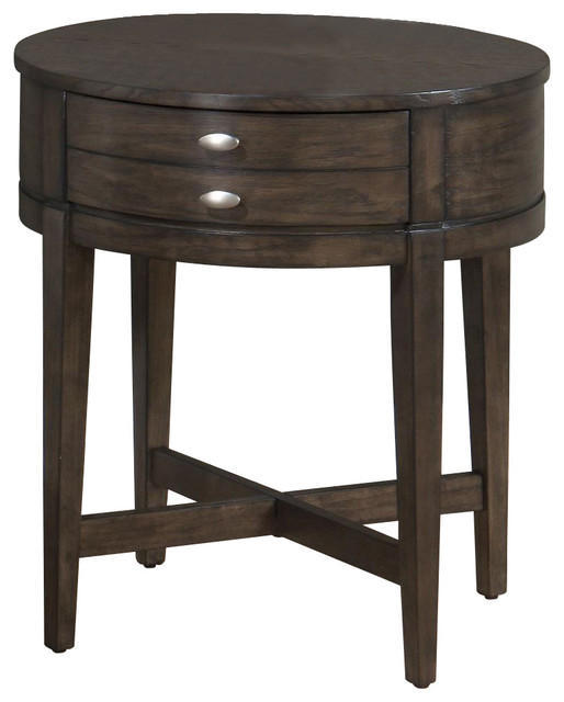 Jofran Antique Gray Oak 22x22 Round End Table With X Base