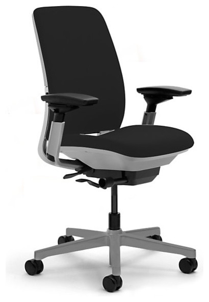 Steelcase Amia Task Chair, Platinum Base w/Arms & Soft Casters, Licorice modern-task-chairs