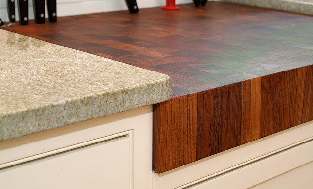 Teak butcherblock countertop by grothouse traditional How to install butcher block countertop