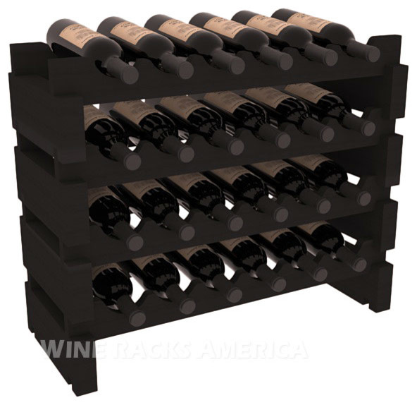 24 Bottle Mini Scalloped Wine Rack in Redwood with Black Stain contemporary-wine-racks