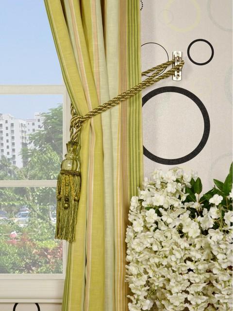 95 l vertical stripe grommet linen curtains modern. Black Bedroom Furniture Sets. Home Design Ideas