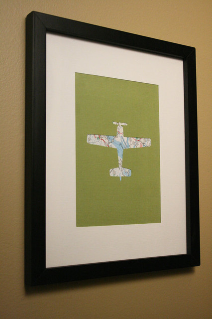 Airplane Map Transportation Cut Out Artwork By Little Red Flag contemporary artwork