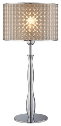 Optiska Table Lamp with Vinyl Shade in Chrome modern-table-lamps