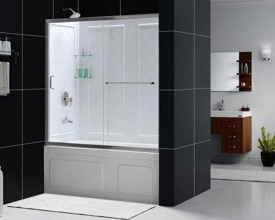 """DreamLine Infinity-Z Sliding Tub Door 56"""" - 60"""" SHDR-0960580 - The INFINITY-Z sliding tub or shower door delivers a classic design with a fresh attitude. Features of convenience like a handy towel bar and fast release wheels that make cleaning the glass and track a cinch are combined with the modern appeal of a frameless glass design. Choose the simply sophisticated style of the INFINITY-Z sliding tub or shower door."""
