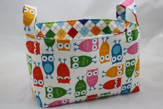 Reversible Multi Colored Owl Fabric Organizer by Divas Intuition modern toy storage