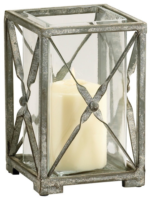 Small Antique Moss Gray Wash Wrought Iron Square Candle Hurricane transitional-candles-and-candle-holders