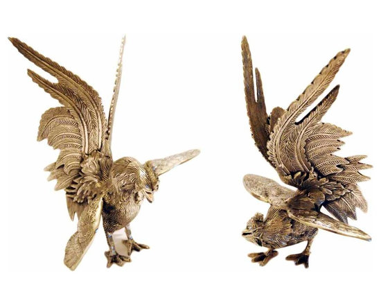 Silver Roosters - Pair of hand made silver roosters. Made from brass.