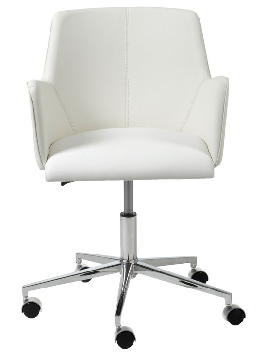 Eurostyle - Sunny Office Chair, White/Chrome - Why should working at home be dreary? Design your office to reflect your personality and taste. This office chair has style without being flashy. It says that you mean business, but appreciate a nontraditional approach when necessary.