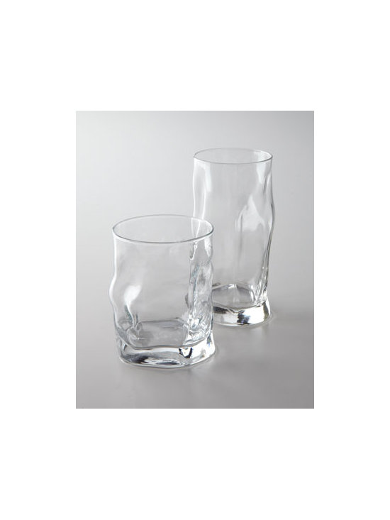"Horchow - ""Sorgente"" Glassware - Marvel in the modern aesthetic of this artful glassware. Perfect for a festive gathering or a chic table setting. Crafted of soda lime and sand glass. Dishwasher safe. Double old-fashioned holds 14.25 ounces. Highball holds 15.5 ounces. Made in It..."