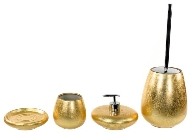 4 piece gold bathroom accessory set contemporary for Gold bathroom accessories sets