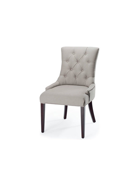"""Horchow - Amanda Chair - This chair with diamond-tufted back creates a sleek contrast from its soft beige upholstery to the rich espresso finish of its straight legs. Handcrafted of birch wood with a hand-applied finish. Wrapped in linen with button-tufted back. 25.5""""W x 22...."""