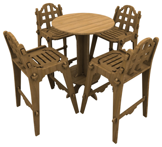 Palladian Bar Set with High Top Table and 4 Chairs Contemporary Outdoor P