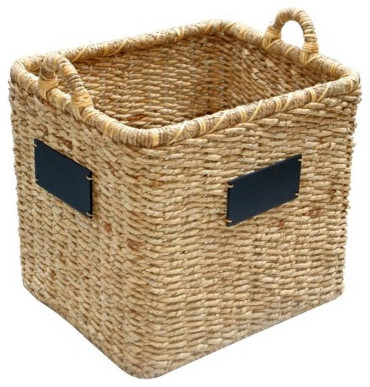 Smith & Hawken® Woven Basket With Chalkboard contemporary-baskets