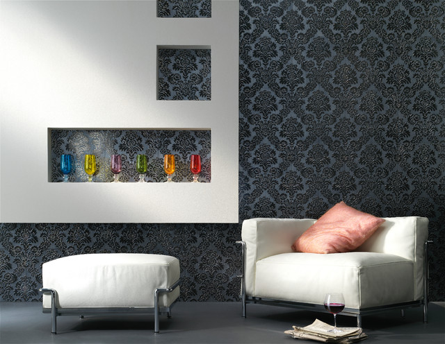 Embossed tile lounge feature wall contemporary living for Living room feature wall